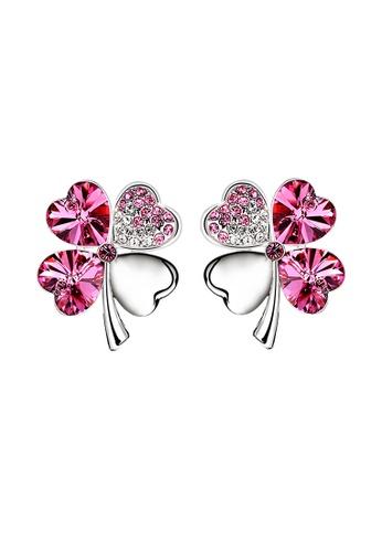 OUXI pink OUXI Four Leaf Clover Earrings (Rose) OU821AC37LSWMY_1