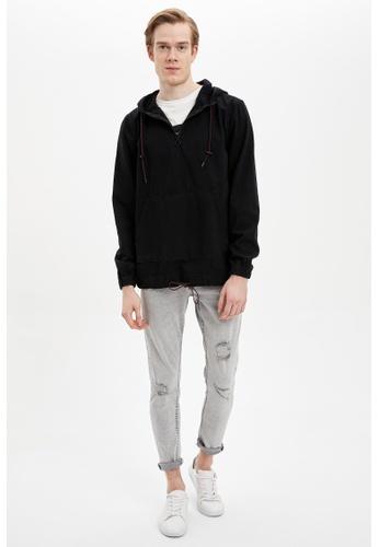 DeFacto 黑色 Hooded Denim Jacket C3C13AA57ABF14GS_1