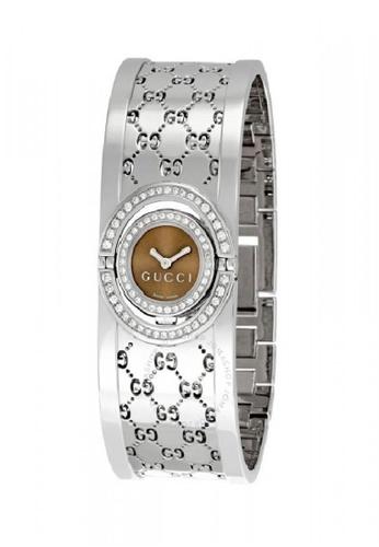 6ad77217ed0 Gucci silver GUCCI 112 Twirl 2 Row Diamond Steel Bangle Ladies Watch  CBA74ACD0C19EEGS 1