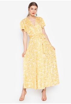 d43167e4128 Daria yellow Sunny V-Neck Wrap Maxi Dress 20364AAAF43EF0GS 1