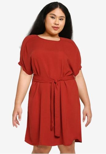 Only CARMAKOMA orange Plus Size Jackie Short Sleeves Knee Dress E48A1AADE4CC37GS_1