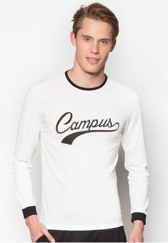 Campus 文字印花長袖衫esprit 高雄, 服飾, 運動T恤