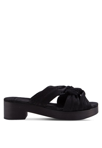 Mango black Wooden Strapped Sandals MA193SH50MHLMY_1