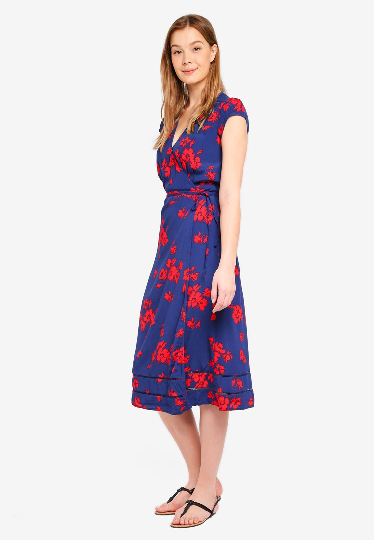 Floral GAP Wrap Midi Navy Floral Print Dress qPxvz