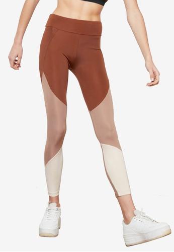 Trendyol brown Colorblock Mesh Leggings 2A35AAA4C94326GS_1