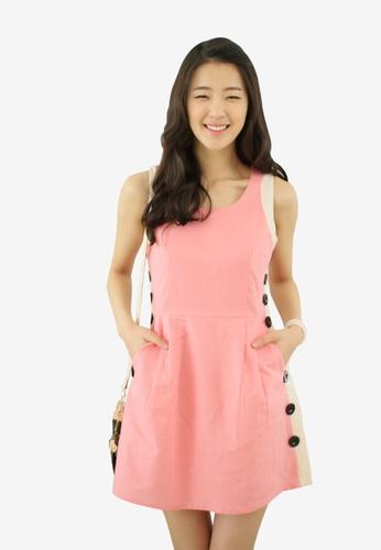 Shopsfashion pink ColorBlock Shift Dress SH656AA97XECSG_1