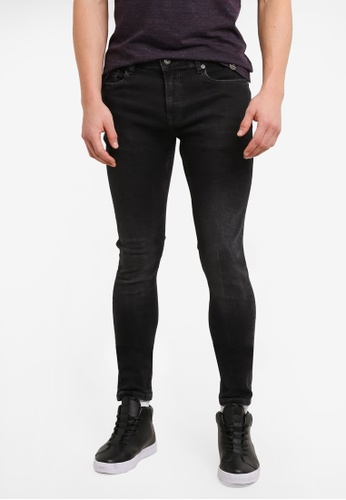 Topman black Washed Spray On Jeans TO413AA0SHBZMY_1