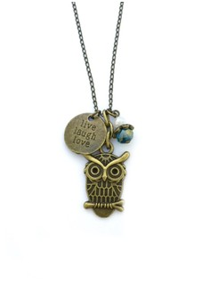 Owl and Quote Charm Necklace