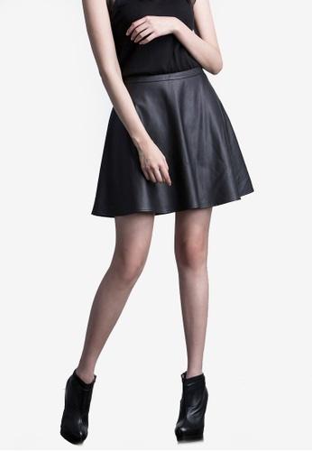 Kodz black Faux Leather Skater Skirt D68B4AAE084A36GS_1