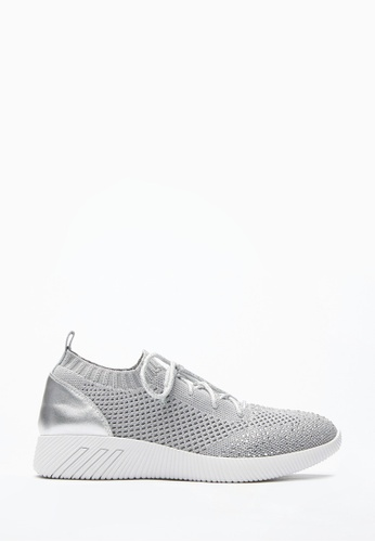 PAZZION grey Knit Lace Up Sneakers 80AB3SHF2E36A7GS_1