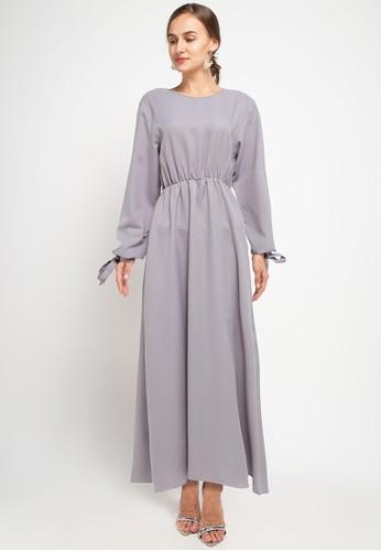 Zumara grey Sleeves Rope Gamis Dress 4A8E7AA9674A96GS_1