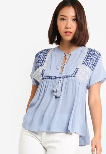 Something Borrowed 藍色 Embroidered Yoke Top 4E505AADC3AE35GS_1
