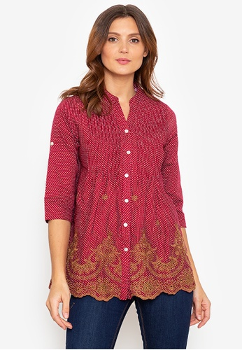 Beyond The Seams red Herminia Dotted Embroidered Mandarin Collar Pleated loose blouse 79251AA10CE92EGS_1