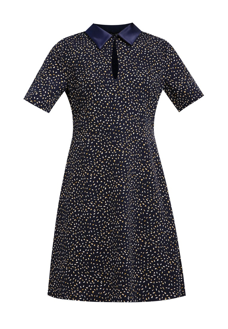 amp; Shirt Dress Navy Flare Fit With ZALORA Dots Yellow dSxUgq