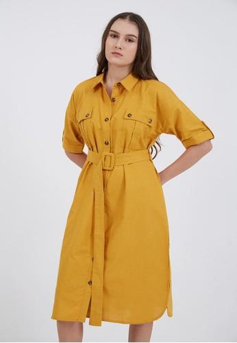 Berrybenka Label yellow Phoebe Pocket Belt Shirt Dress Yellow B9BE5AA1C6B957GS_1