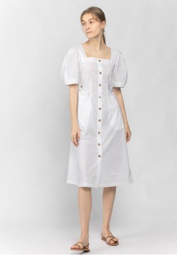 TAV 白色 方領鈕扣修身連衣裙 - 白色 5DB9AAADE57D35GS_1