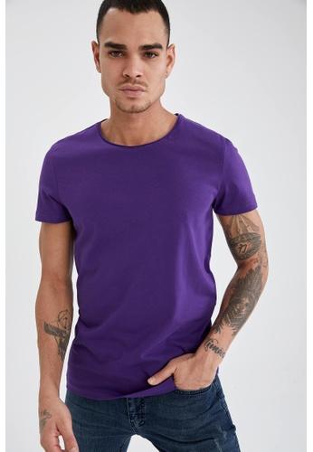 DeFacto purple Short Sleeve Round Neck Cotton Basic T-Shirt CE9F9AAFB60B84GS_1