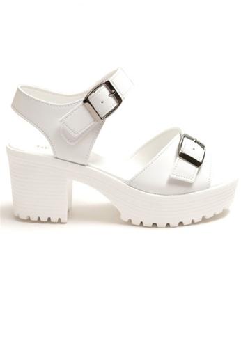 Crystal Korea Fashion 白色 韓國製百搭夏季粗跟厚底鞋 71B23SHBEA376AGS_1
