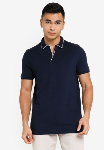 ABERCROMBIE & FITCH navy Resort Shop Polo Shirt A7926AAF8CBB76GS_1