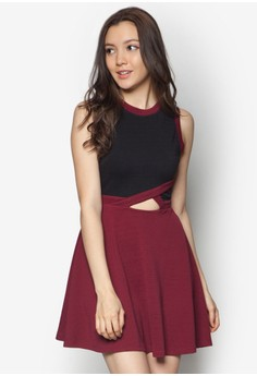 Colourblocked Skater Dress