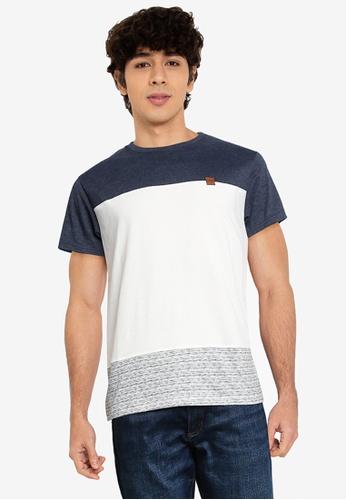 Indicode Jeans white and navy Hammond Colourblock T-Shirt BC227AA7AEA386GS_1