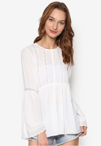 褶zalora 順豐飾蕾絲拼接喇叭長袖上衣, 服飾, 上衣