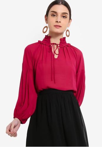 ZALORA 粉紅色 Balloon Sleeves上衣 57B7DAA8799539GS_1