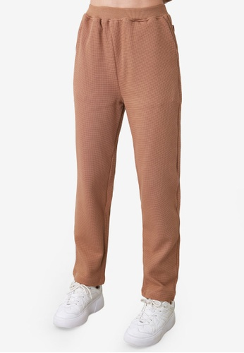 Trendyol brown Textured Knit Sweatpants 5D3D2AAC669A2BGS_1