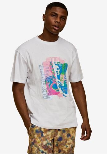 Topman white White Abstract Print T-Shirt EA282AA98FDFD4GS_1