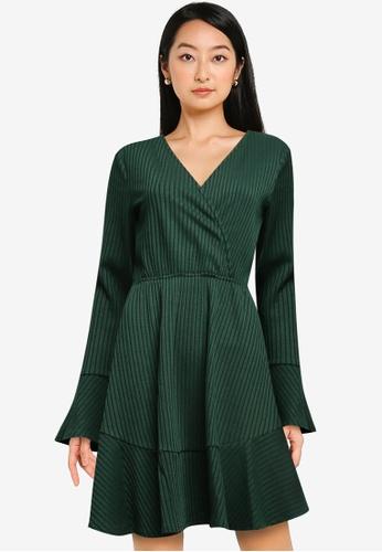 ZALORA BASICS green Long Sleeve Wrap Rib Dress 27888AAB0F0C9BGS_1
