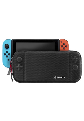 tomtoc black tomtoc Slim Hard Case Compatible with Nintendo Switch, Original Patent Portable Hardshell Travel Carrying Case, fit Switch Console Cover, 8 Game Cartridges Accessory C495BACB5DE828GS_1
