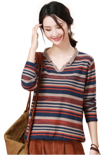 3d1089553 A-IN GIRLS multi Korean Style V-Neck Striped Sweater 81D1AAA886CDB4GS 1