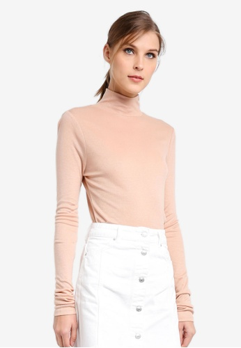TOPSHOP beige Long Sleeve Fine Funnel Neck Top TO412AA0SIVTMY_1