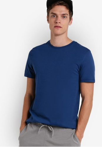 Topman blue Ensign Blue Crew Neck T-Shirt TO413AA00NCPMY_1