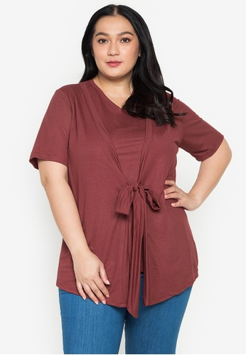 Maxine red Plus Size Cover Up Tie Top BAE1BAA738334EGS_1