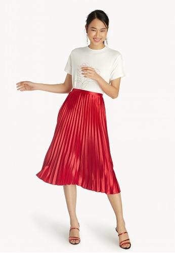 b1165e002ef Buy Pomelo Satin Pleated Midi Skirt - Red Online on ZALORA Singapore