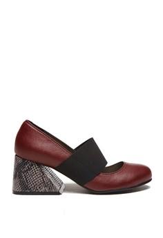 小羊皮時尚異形粗跟瑪莉珍鞋