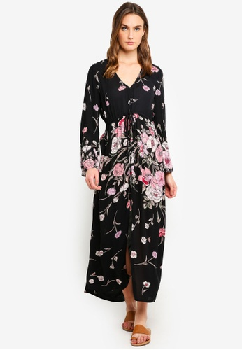 Billabong black and multi Desi Kimono Dress 1D74AAA2A9B500GS_1
