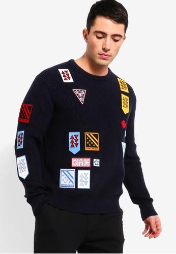 b9db6f37ca1 Calvin Klein navy Multi Badges Crew Neck Sweatshirt - Calvin Klein Jeans  15C6EAA44A66ABGS 1