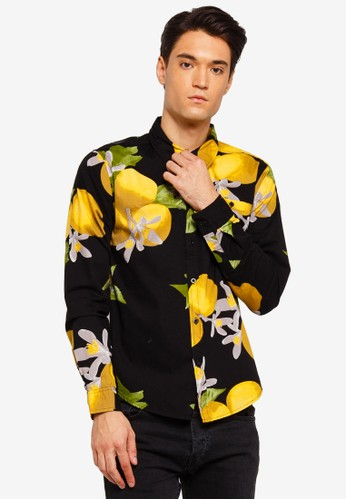 Brave Soul black Lemon Print Long Sleeve Shirt 3A206AA46FA61EGS_1