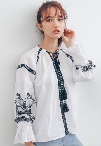 Shopsfashion white Boho Flare Sleeve Blouse in White SH656AA73RPMSG_1
