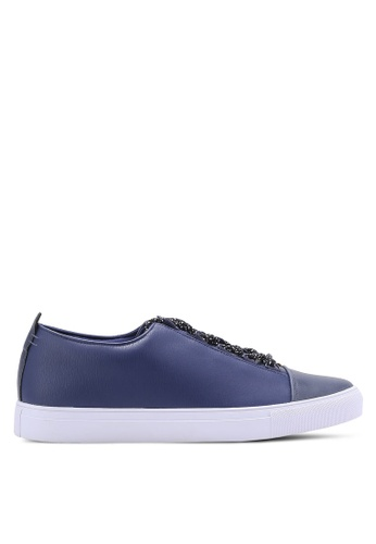 ZALORA navy Faux Leather Sneakers with Flat Lace 0286FSH1FB8E1FGS_1