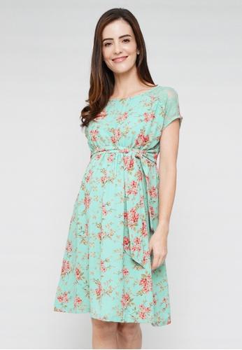9months Maternity green Green Maternity Dress With Lace Yoke 03669AA5F438A3GS_1