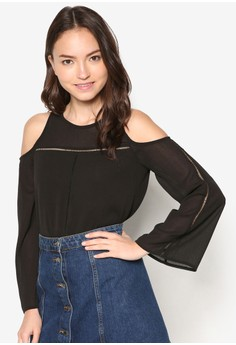 Fagoting Detail Cold Shoulder Top