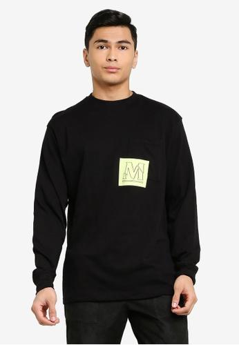 Mennace black Long Sleeve Overlap Pocket Print T-Shirt AD5A3AA966A25BGS_1