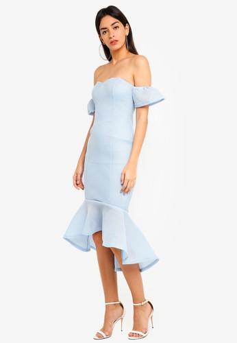 MISSGUIDED blue Bonded Fishnet Bardot Midi Dress 9840DAA6CD9000GS_1