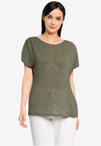 ONLY green Riz Short Sleeve Glitter Top CF055AAA5B0181GS_1
