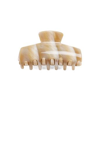 Glamorousky beige Fashion High-end Beige Striped Geometric Hair Claw EB991ACD57D78DGS_1