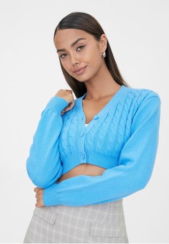 Pomelo blue Cropped Knit Cardigan - Blue F2646AA113885EGS_1