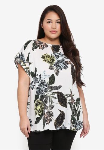 Dorothy Perkins white Plus Size Ivory Tropical Print Tee E3968AAC54B8ECGS_1